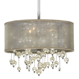 Champagne 15-Inch Tan and Chrome Three-Light Pendant