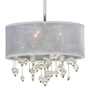Champagne 15-Inch White and Chrome Three-Light Pendant