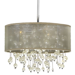 Champagne 18-Inch Tan and Chrome Three-Light Pendant