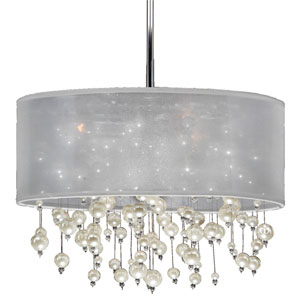 Champagne 18-Inch White and Chrome Three-Light Pendant