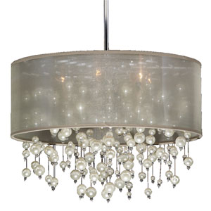 Champagne Tan and Chrome Six-Light Pendant