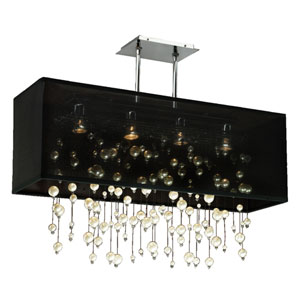 Veneto Black and Chrome Four-Light Pendant