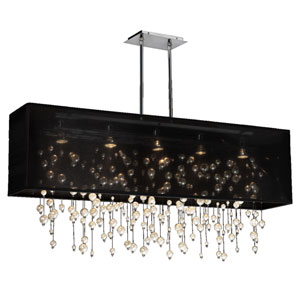 Veneto Black and Chrome Five-Light Pendant