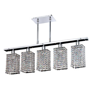 Fuzion X Square Single Layer Crystal and Chrome Five-Light Pendant