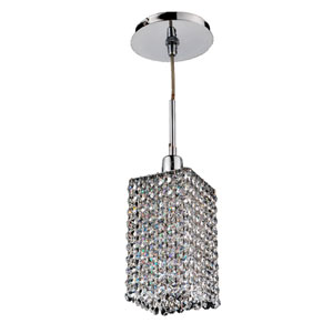 Fuzion X Square Two Layer Crystal and Chrome One-Light Mini Pendant