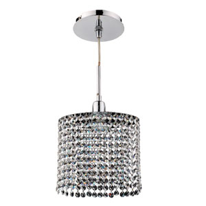 Fuzion X Oval Single Layer Crystal and Chrome One-Light Mini Pendant