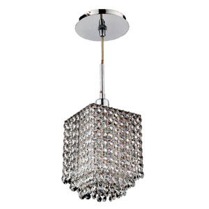 Fuzion X Square Three Layer Crystal and Chrome One-Light Mini Pendant
