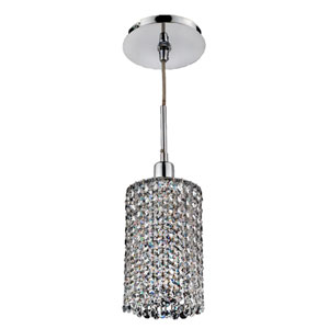 Fuzion X Round Two Layer Crystal and Chrome One-Light Mini Pendant