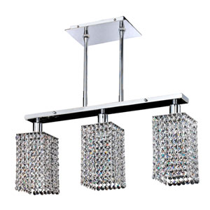 Fuzion X Square Single Layer Crystal and Chrome Three-Light Pendant
