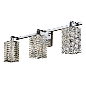 Fuzion X Square Single Layer Crystal and Chrome Three-Light Wall Sconce