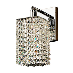 Fuzion X Square Single Layer Crystal and Chrome One-Light Wall Sconce