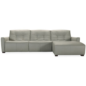 Gray Reaux Power Motion Sofa with Right Facing Chaise and Two Power Recliners