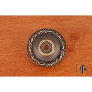 Antique English Flat Deco-Leaf Knob Backplate
