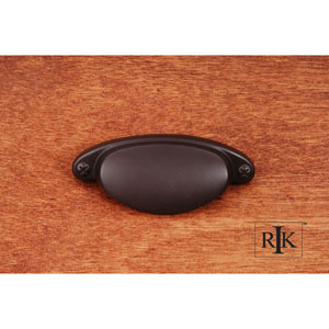 Oil Rubbed Bronze Elliptical Cup Pull with Dummy Screws