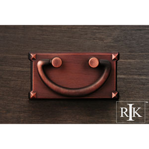 Distressed Copper Rectangular Plated Bail Pull