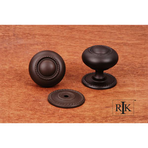 Oil Rubbed Bronze Rope Knob with Detachable Back Plate