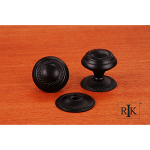 Black Rope Knob with Detachable Back Plate