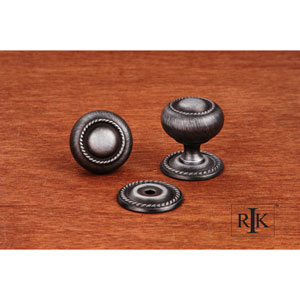 Distressed Nickel Rope Knob with Detachable Back Plate