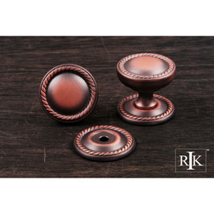 Distressed Copper Flat Rope Knob with Detachable Back Plate