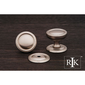 Pewter Flat Rope Knob with Detachable Back Plate