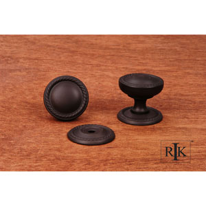Oil Rubbed Bronze Flat Rope Knob with Detachable Back Plate