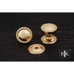 Polished Brass Flat Rope Knob with Detachable Back Plate
