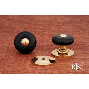 Polished Brass Black Porcelain Knob with Brass Tip