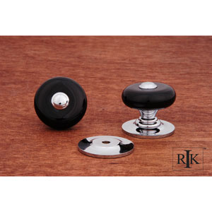 Chrome Black Porcelain Knob with Chrome Tip