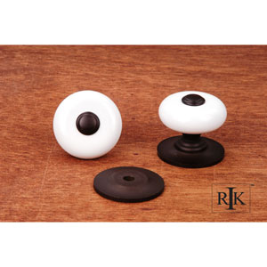 Oil Rubbed Bronze White Porcelain Knob with Oil Rubbed Tip