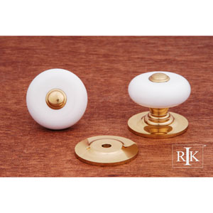 Polished Brass White Porcelain Knob with Brass Tip