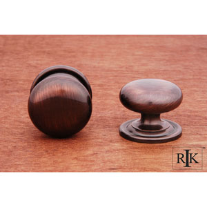 Antique Copper Solid Plain Knob with Backplate