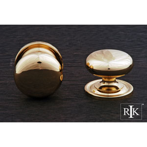 Polished Brass Solid Plain Knob with Backplate