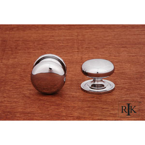 Chrome Solid Plain Knob with Backplate