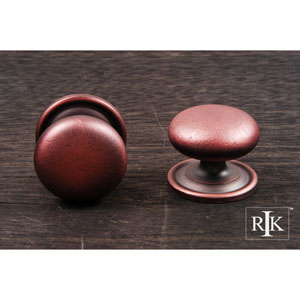 Distressed Copper Solid Plain Knob with Backplate