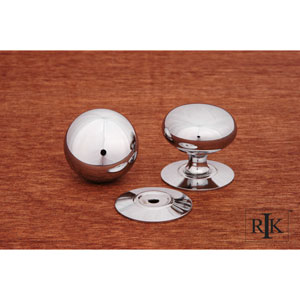 Chrome Plain Knob with Detachable Back Plate