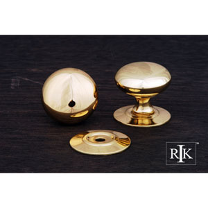 Polished Brass Plain Knob with Detachable Back Plate
