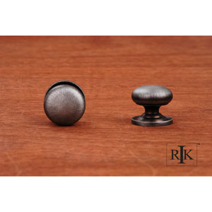 Distressed Nickel Solid Plain Knob with Backplate