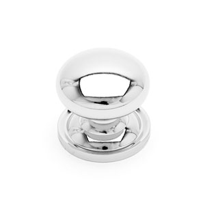 Polished Nickel Solid Plain Knob with Backplate
