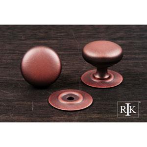Distressed Copper Plain Knob with Detachable Back Plate