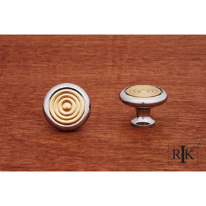 Chrome and Brass Knob with Riveted Brass Circular Insert