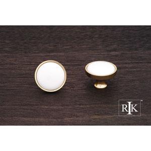 Polished Brass Porcelain Brass and White Knob