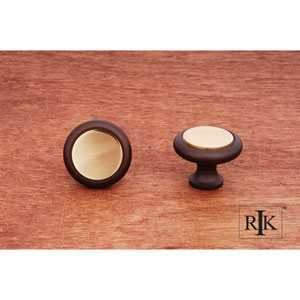Oil Rubbed and Brass Plain Knob with Flat Brass Insert