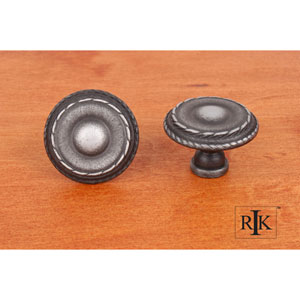 Distressed Nickel Large Double Roped Edge Knob