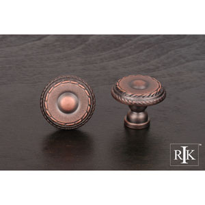 Distressed Copper Small Double Roped Edge Knob