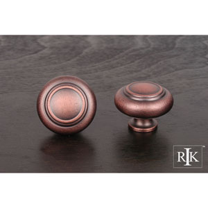 Distressed Copper Large Double Ringed Knob