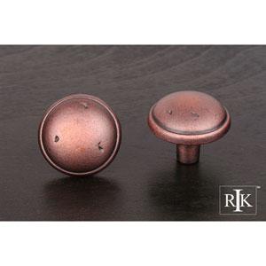 Distressed Copper Distressed Mushroom Knob with Ring Edge