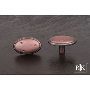 Distressed Copper Distressed Oval Knob with Ring Edge