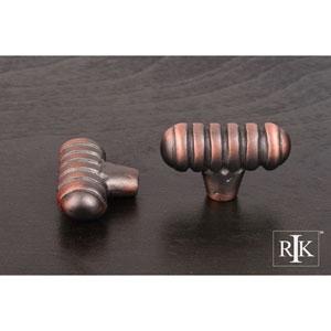 Distressed Copper Distressed Large Ribbed Knob