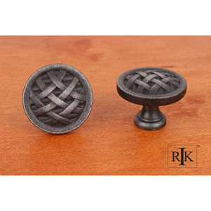 Distressed Nickel Large Cross-Hatched Knob