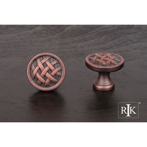 Distressed Copper Small Cross-Hatched Knob